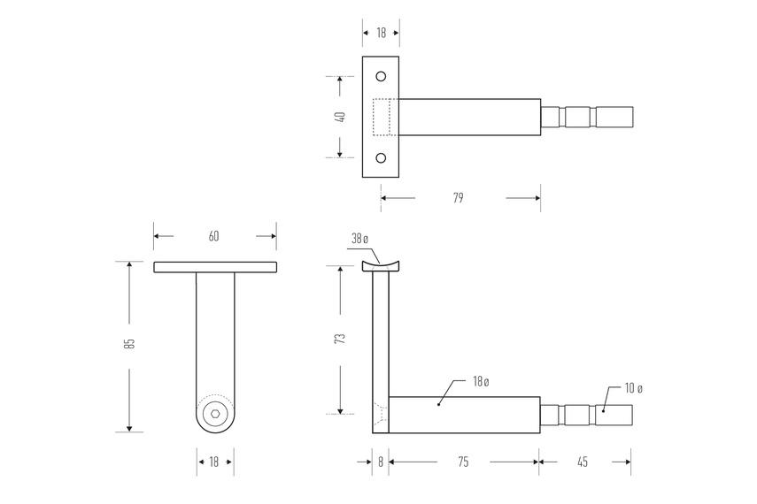 HB 510 stair rail bracket – line drawing