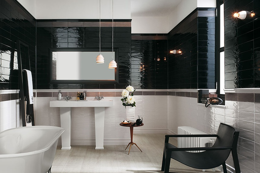 Manhattan black and white bathroom wall tiles