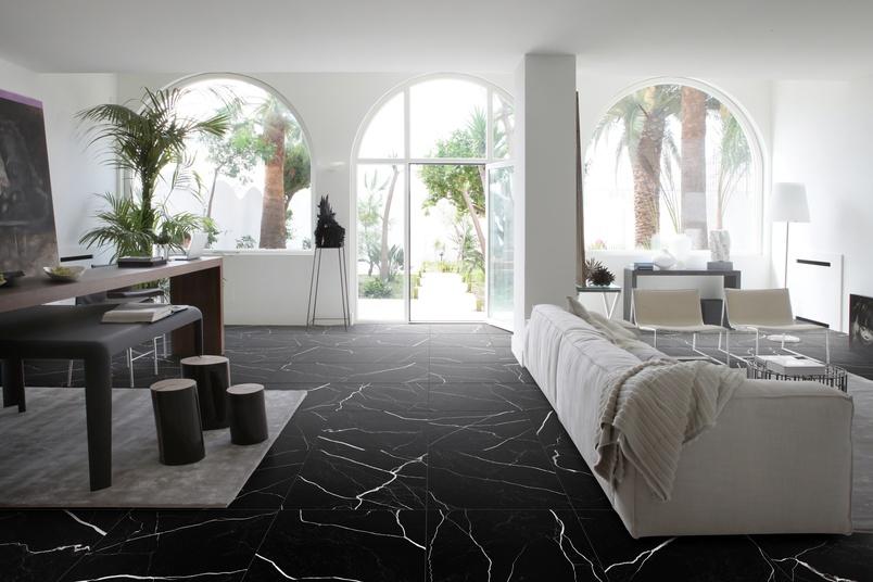 60x60 Marmo Nero floor tiling.