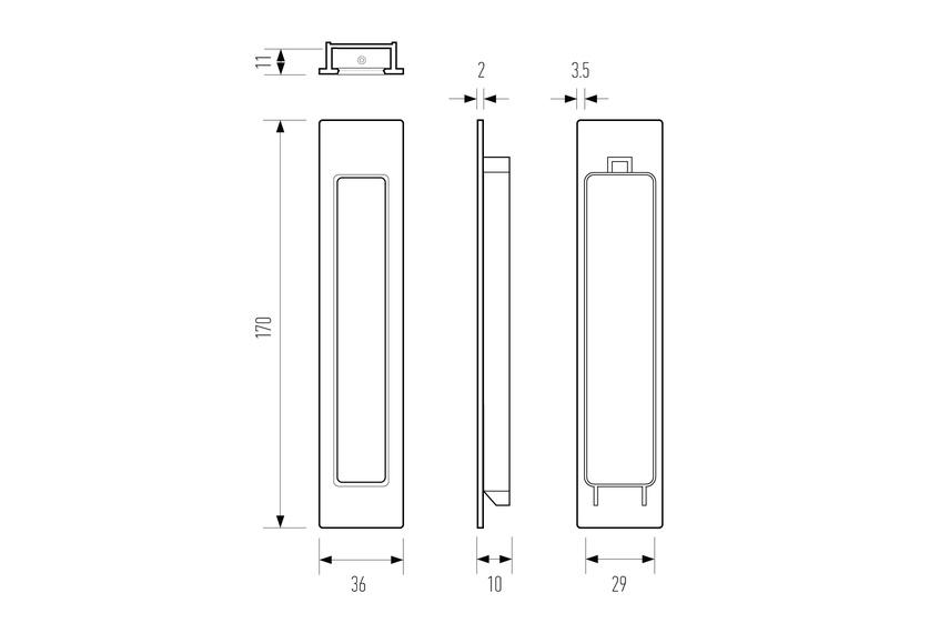 HB 660/35 flush pull narrow - line drawing