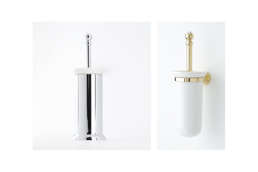 Perrin & Rowe offer wall & freestanding toilet brush holders with black brushes