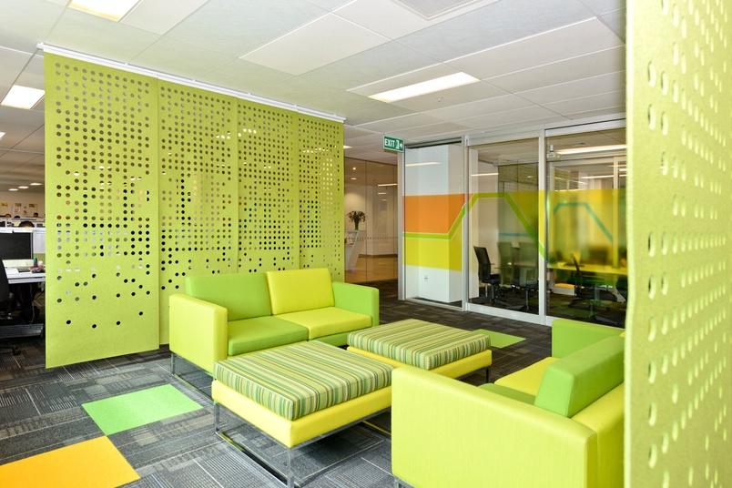 Lighting Basement Washroom Stairs: Perforated Hanging Panels By Designer Felt