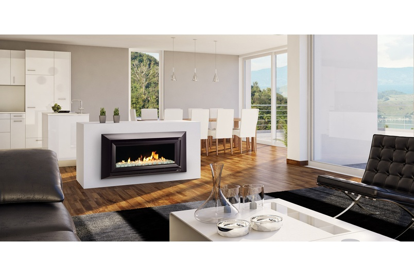 Dl series high efficiency gas fireplaces by escea selector escea dl850 gas fireplace volcanic black velo fascia and white pebbles fuel bed teraionfo