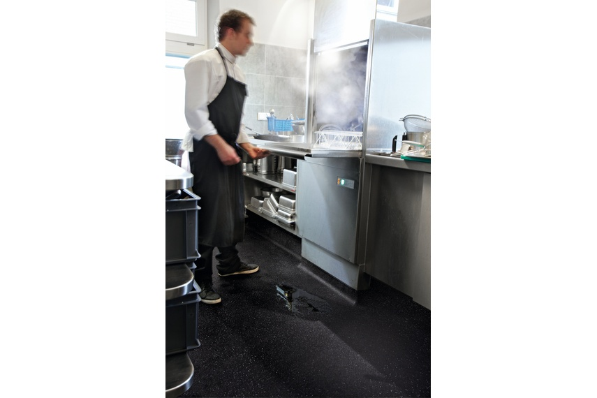 Safestep vinyl is ideal for high slip risk areas because of continuous contamination of the floor.