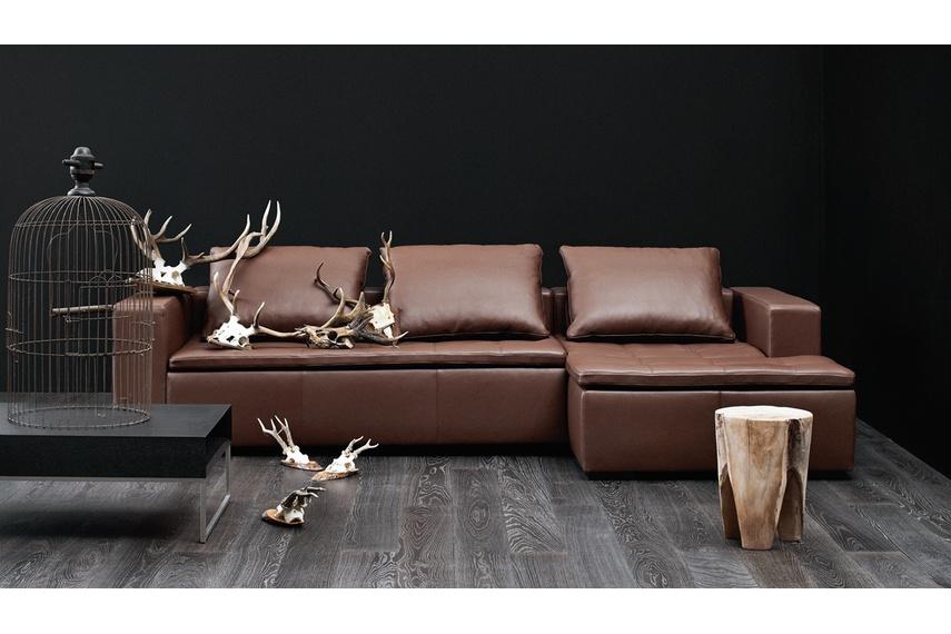 Mezzo modular sofa system shown in mocca estoril leather