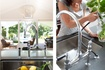 Perrin & Rowe Ionian bridge-style mixer with spray rinse and black porcelain handles in chrome