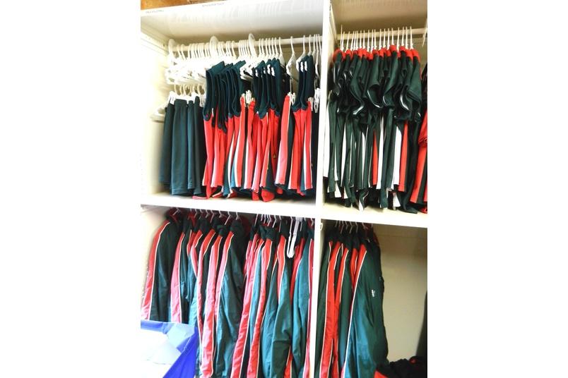 Uniform hanging storage.
