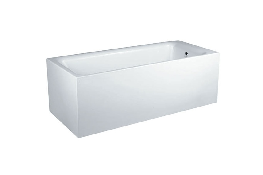 Square bath includes pop up waste, gel coat finish and gel coat base