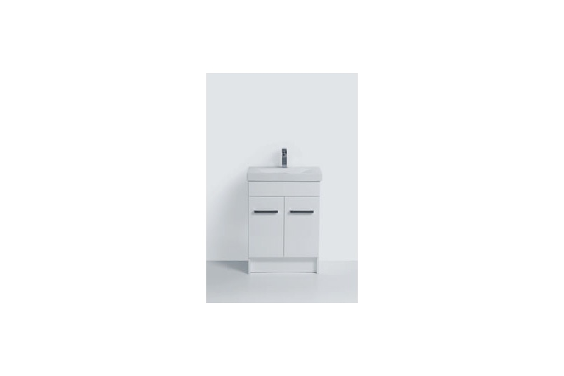 Floor vanity 600mm – 2 doors, white/charred oak/prime oak, china top, soft close hinges