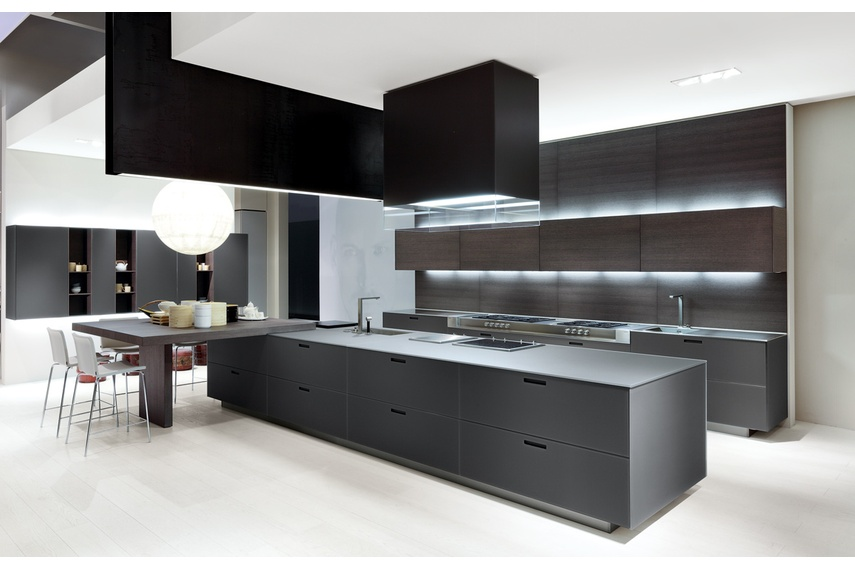 Kyton kitchen, an original design solution that suggests full continuity between kitchen and living.