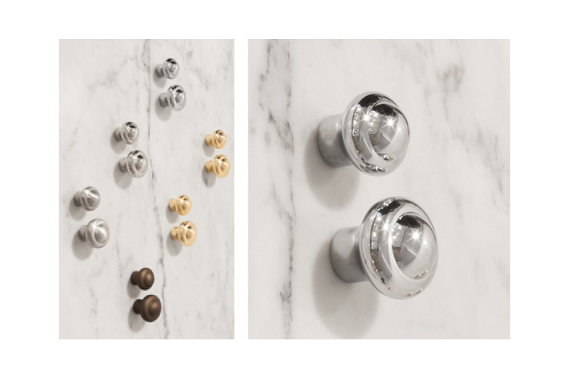 Perrin & Rowe cabinet knobs are machined from brass and available plated in five finishes