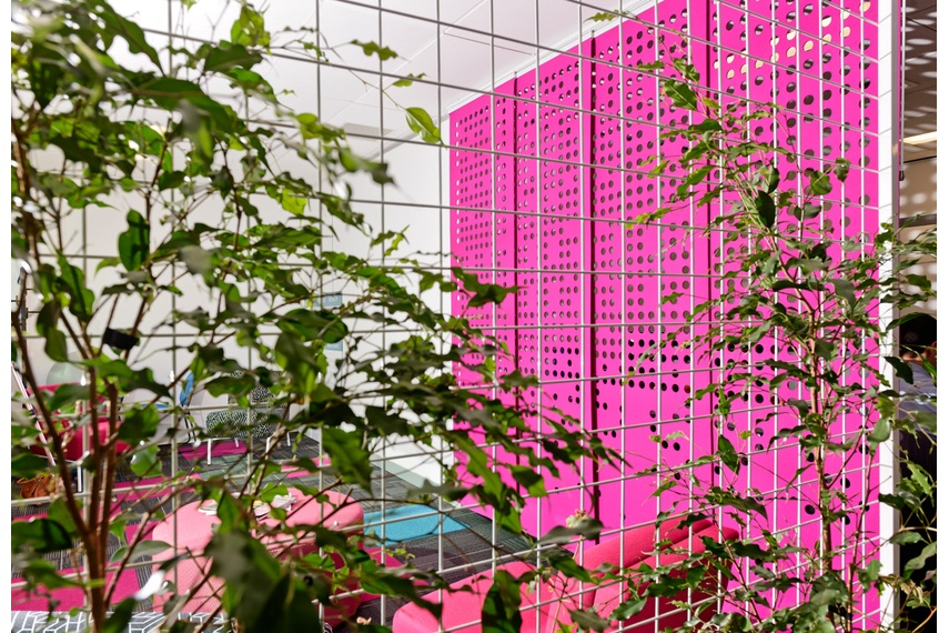 Perforated hanging panels in pink
