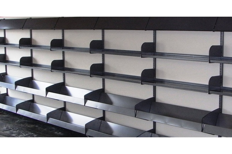 Wall channel shelving.
