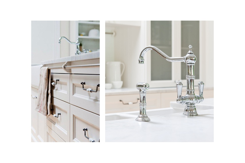 Perrin & Rowe Picardie kitchen tap with spray rinse in chrome