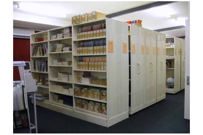 Resource mobile shelving.
