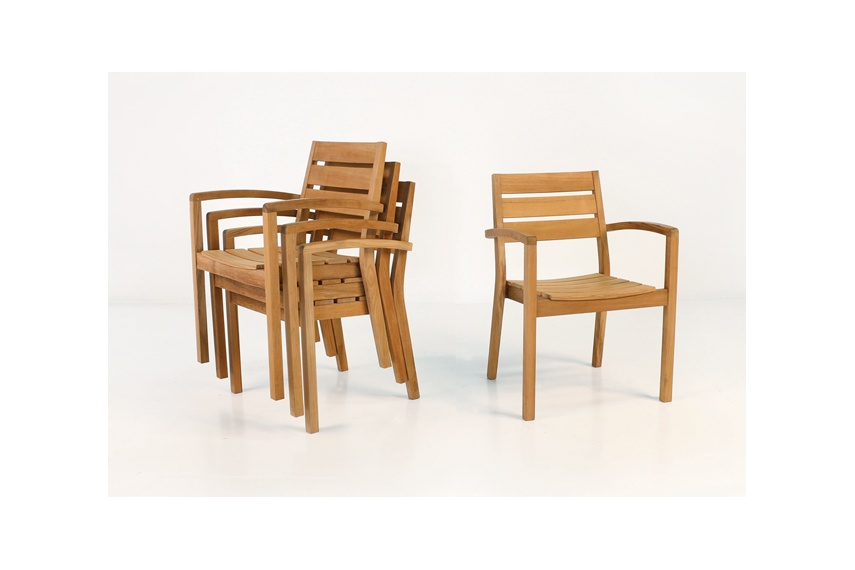 Horizon A-Grade teak stacking armchair