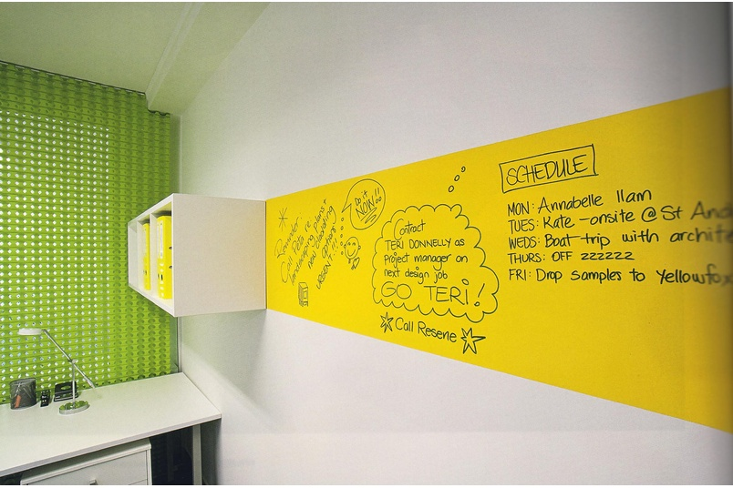 Resene Spotlight topcoated in Resene Write-on wall paint for a handy wall to write on it in office