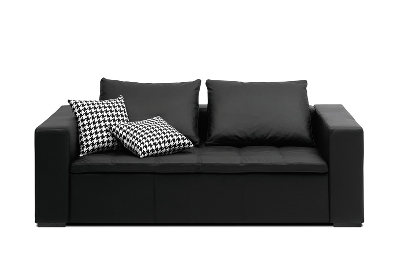 Mezzo modular sofa system shown in black salto leather