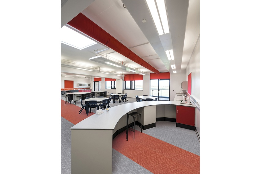 Expona Linné in grey and red at Sir Stanley Matthews School.