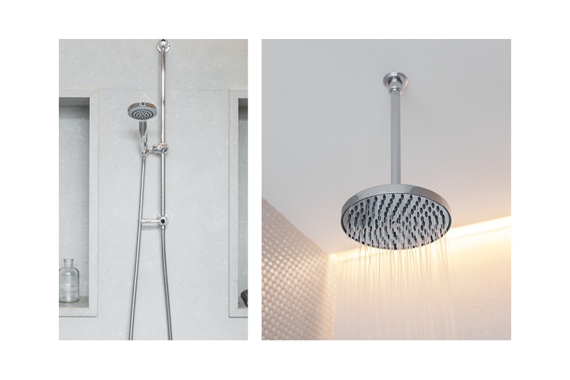 Perrin & Rowe offers a range of contemporary shower set ups in chrome or pewter
