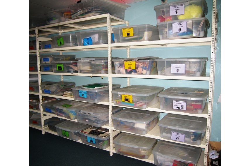 School resource room shelving.