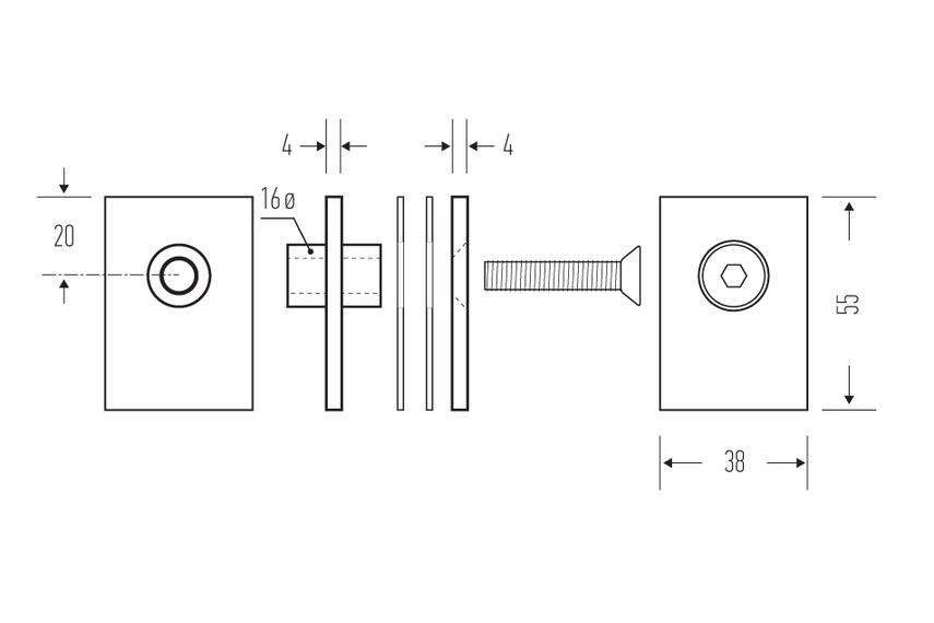 HB 542 glass fixing kit line drawings