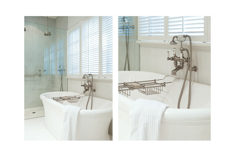 Perrin & Rowe wall mounted bath filler with handshower in cradle in Pewter (brushed nickel)