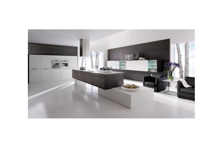 design kitchen italian%0A Verso kitchen  textured modern  split levels design featuring white high  gloss and wood grain