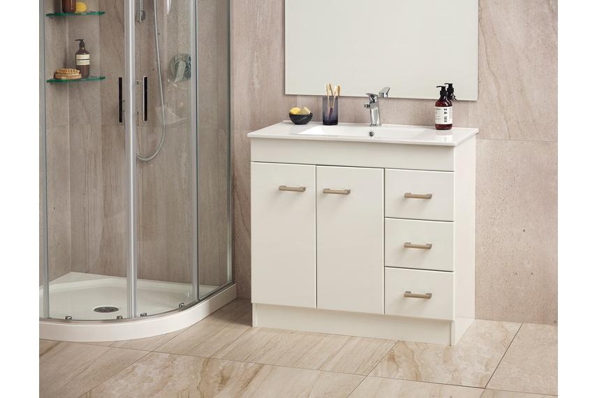 Cashmere classic floor-standing vanity in White Gloss.