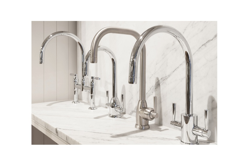 Perrin & Rowe offer a range of contemporary kitchen taps in chrome or pewter finish