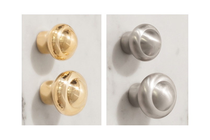 Perrin & Rowe cabinet knobs are available in two sizes – left: uncoated bare brass, right: pewter