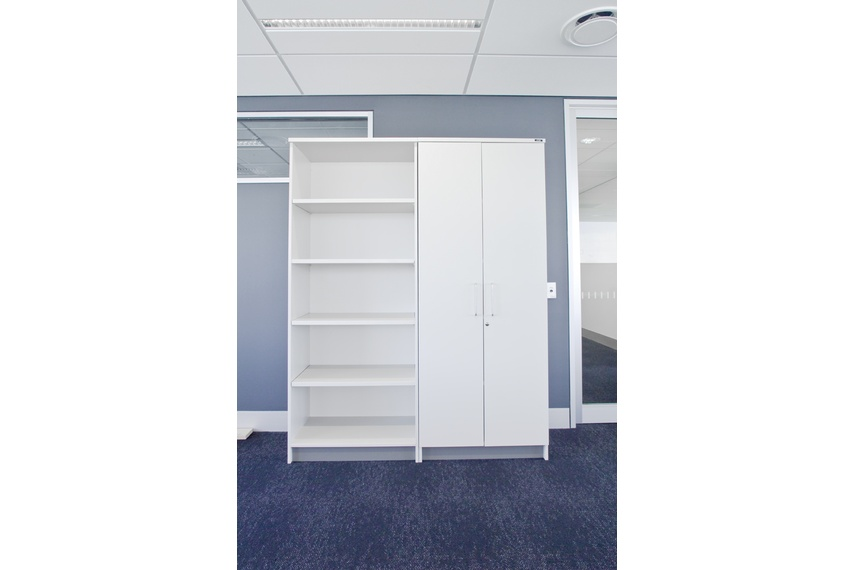 Integrate shelving with cupboards