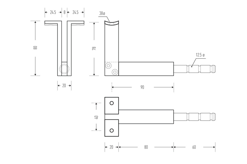 HB 555 stair rail bracket line drawing