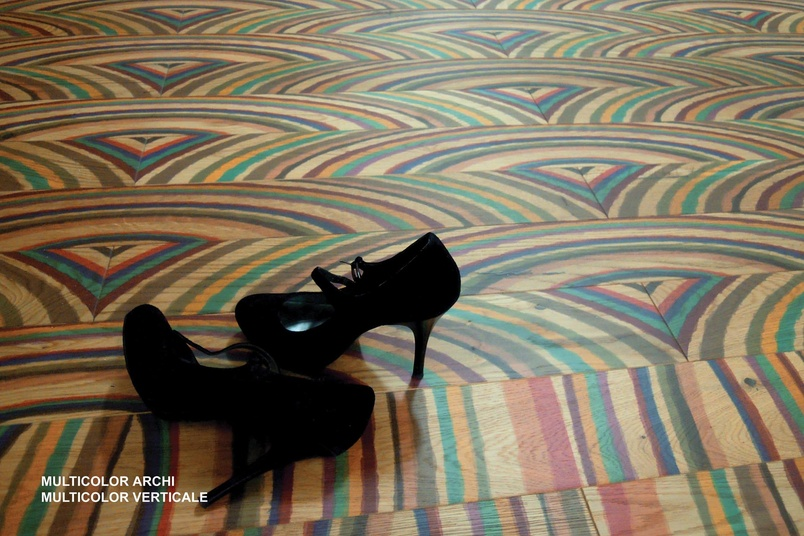 Create unusual and unique patterns with Arcobaleni wood flooring.
