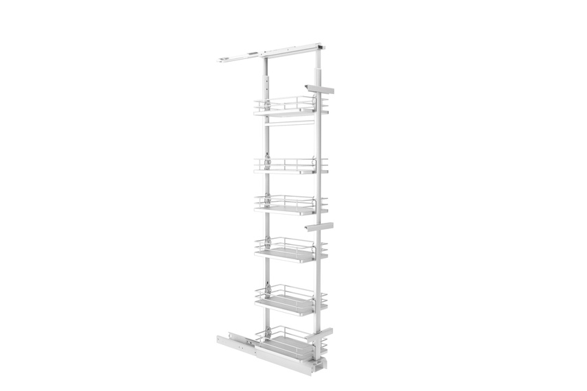 Giamo tall pantry unit with solid base baskets.