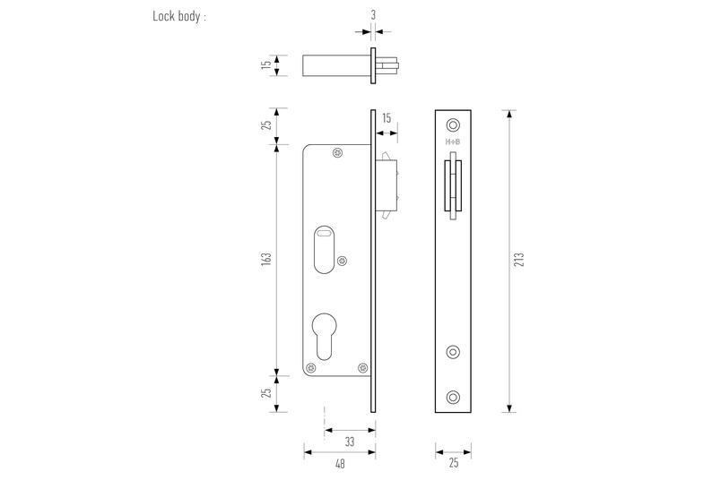 Lock body line drawing