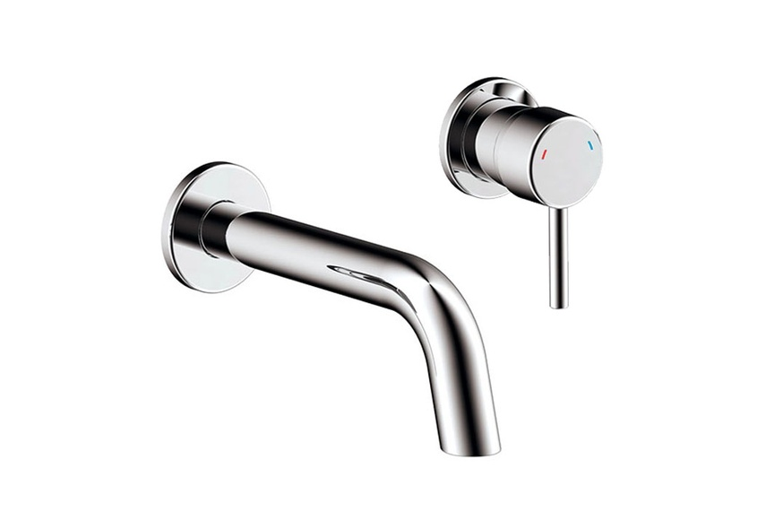 Rotunda wall-mounted basin mixer.