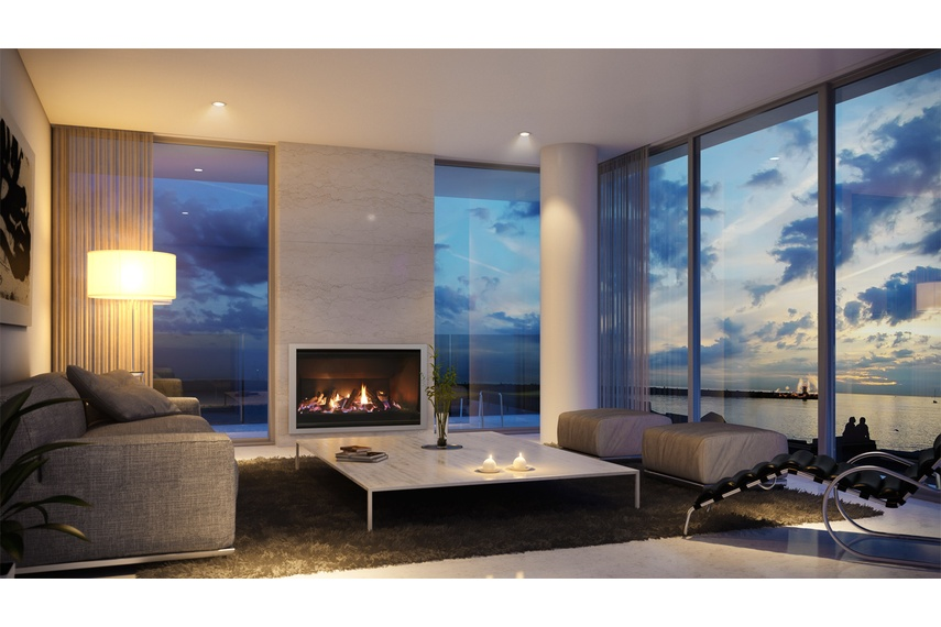 Escea AF960 gas fireplace (Titanium Silver Slim fascia and logs fuel bed).