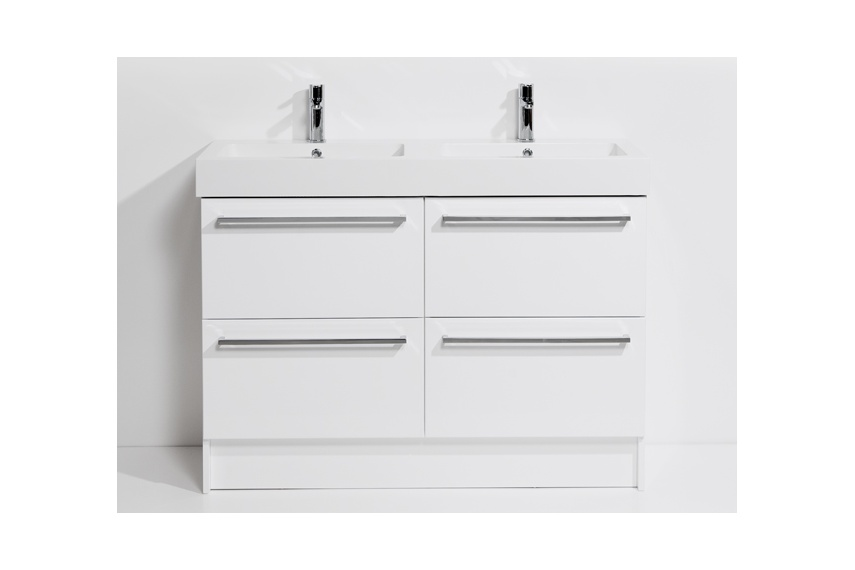 Drawer floor unit 1200mm – 4 drawer, double bowl, polymarble top, soft close drawers