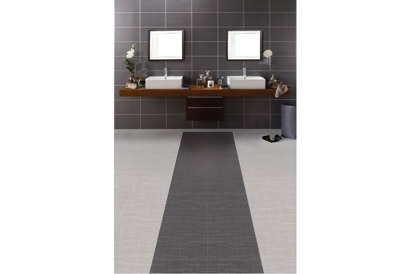 Expona Linné in dark light grey in a bathroom environment .
