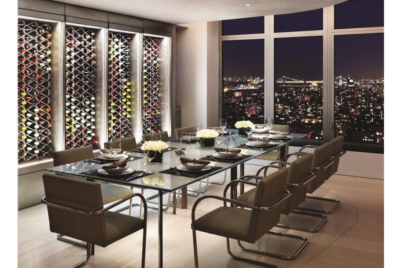 Echelon wine storage system as a back-lit wine wall.