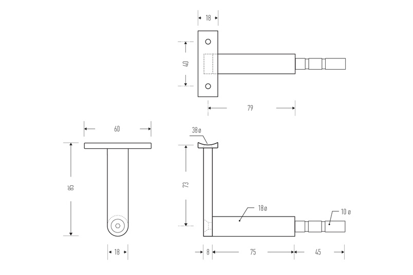 HB 510 stair rail bracket – line drawing