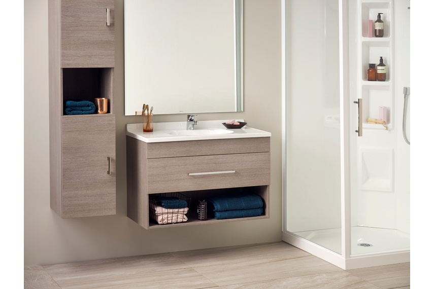 Statesman single open drawer vanity in Basalt.