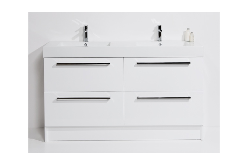 Drawer floor unit 1500mm – 4 drawer, double bowl, polymarble top, soft close drawers