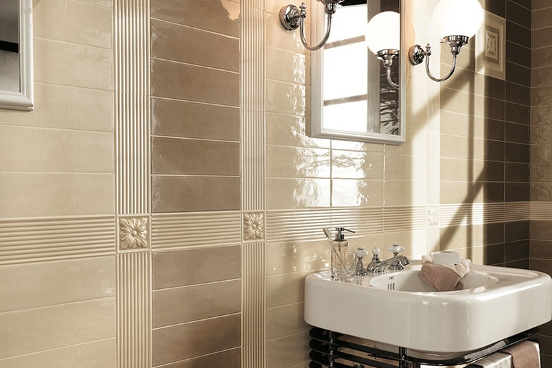 Manhattan beige and sand bathroom wall tiles