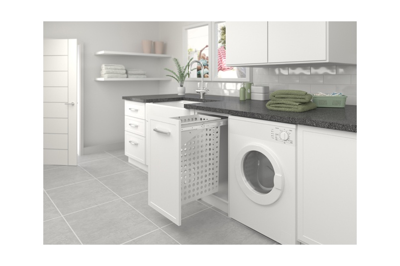 Tanova Simplex laundry pull-out for 350mm cabinet with hinged door - 65L steel basket in grey.