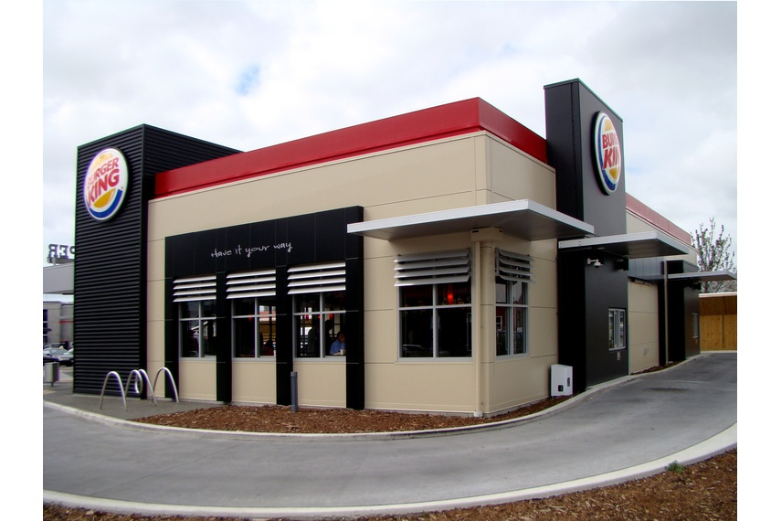 Burger King, Christchurch using Kingspan's Trapezoidal Roof Panel (KS1000 RW) and  Architectural Wall Panel (KS1000 MM). Kingspan insulated wall panels offer architects unprecedented freedom of design.